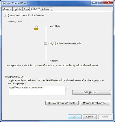 MathsNet: Java Technical Help